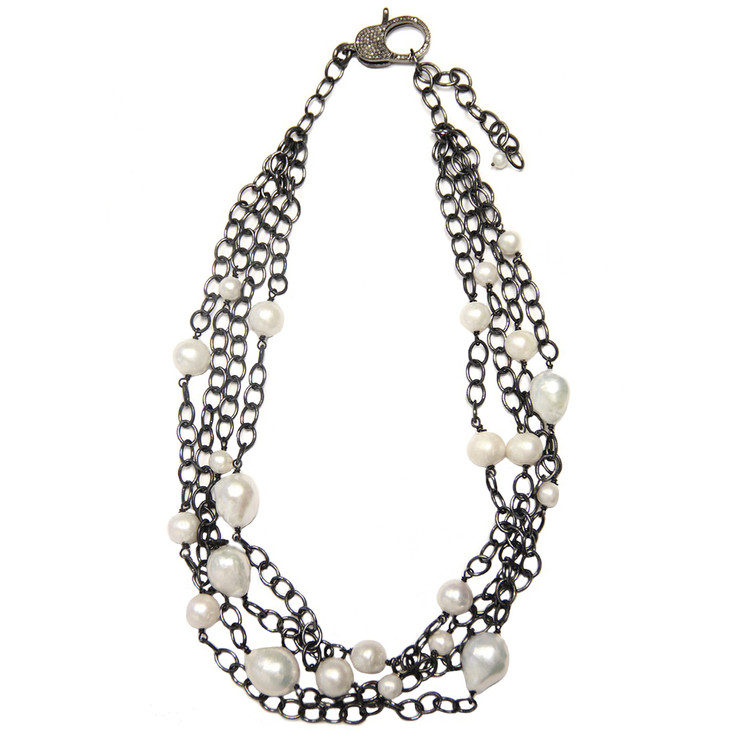 Multi-Strand Pavé Diamond Lock & Baroque Pearl Necklace