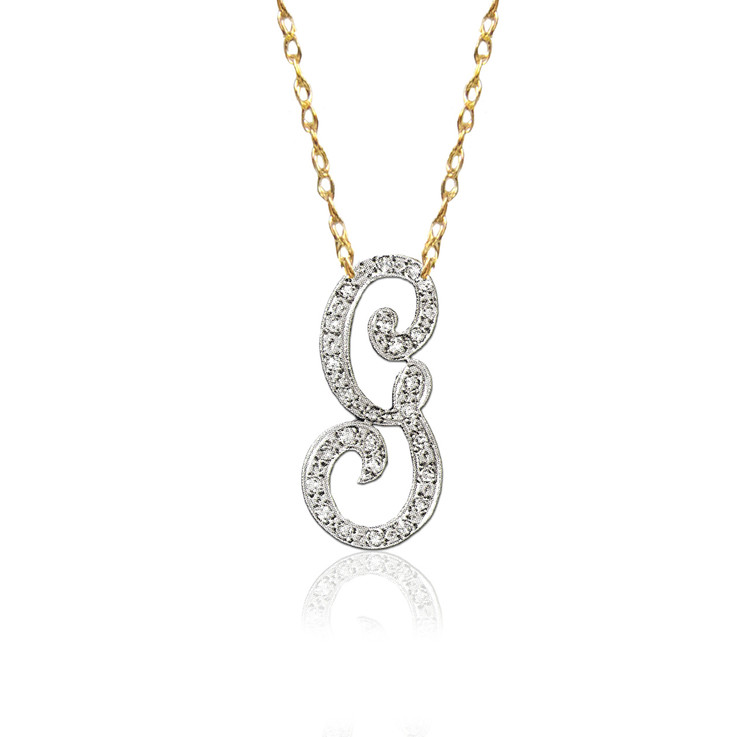 14K Gold Diamond Script Initial Necklace