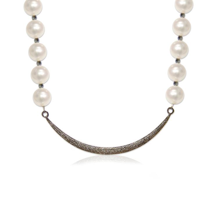 Pavé Diamond Moon & Pearl Necklace