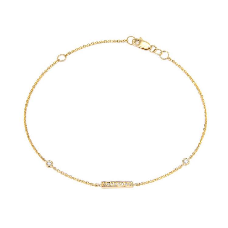 14K Yellow Gold Bar Single Micro Pave Diamond Bracelet