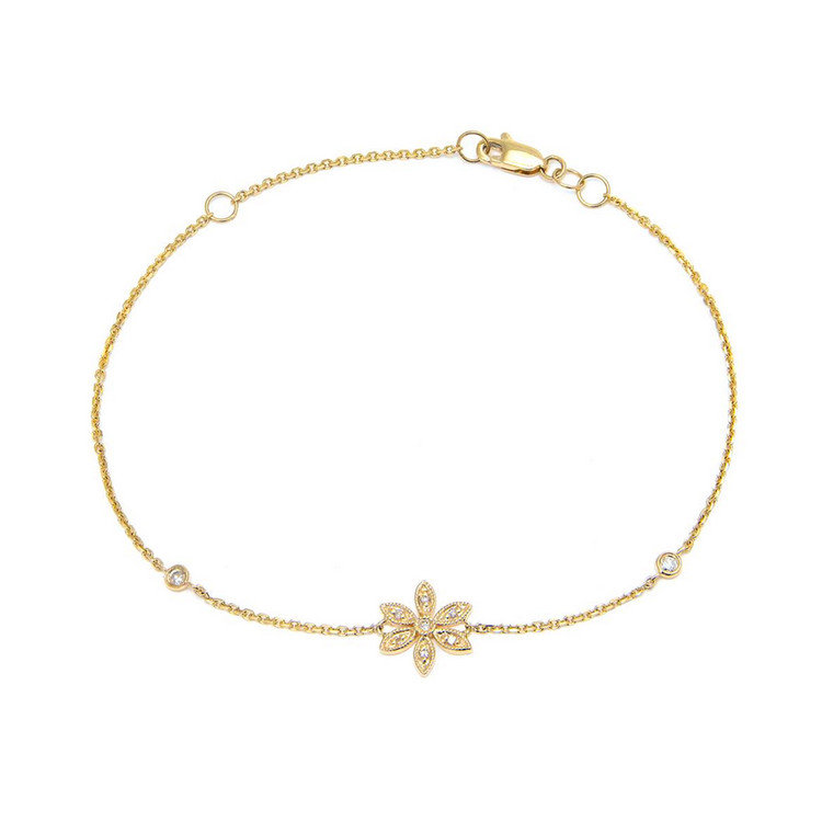 14K Yellow Gold Flower Single Micro Pave Diamond Bracelet