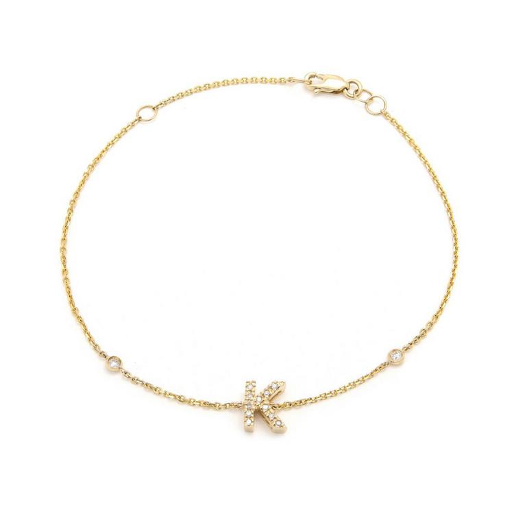 14K Yellow Gold Initial Single Micro Pave Diamond Bracelet