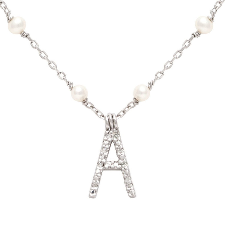 Diamond Initial With Pearl Station Necklace