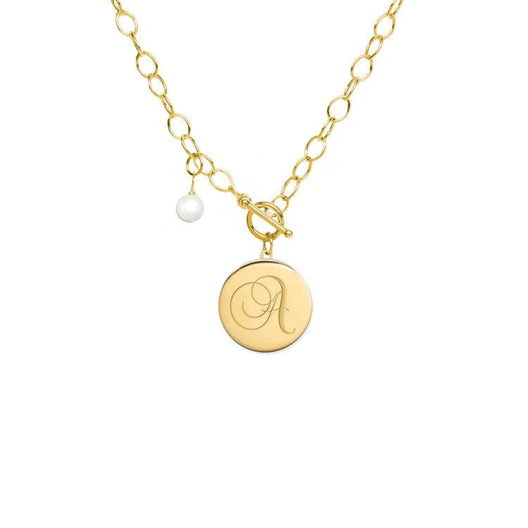 Engraved Disc Charm On A Toggle Closure Necklace