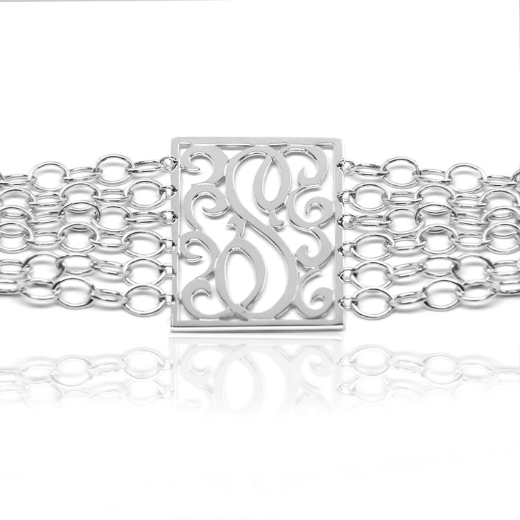 Lace Rectangle Initial Bracelet