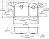 "Elkay DPXSR2250R Dayton Stainless Steel 33"" x 22"" x 8"", 60/40 Double Bowl Dual Mount Sink"