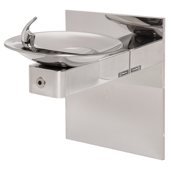 Haws 1001HPSMSHO Touchless Drinking Fountain with Mounting System, Wall Mounted, ADA Compliant, High Polished Stainless Steel, Non-Refrigerated