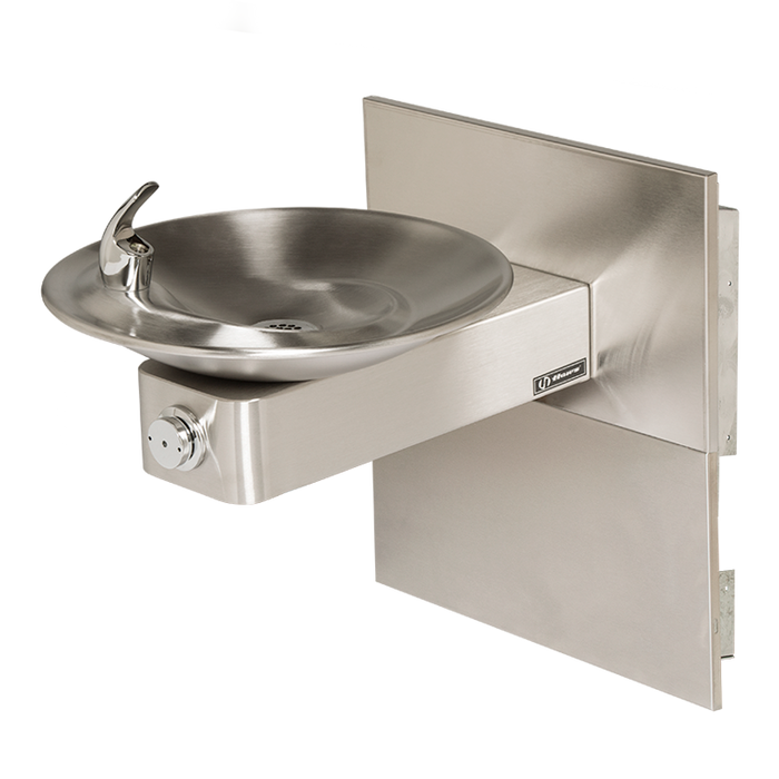 Haws 1001MS, Barrier-Free, Satin Finish Stainless Steel Drinking Fountain with Sculpted Bowl, Back Panel and In-The-Wall Mounting System, (Non-Refrigerated)