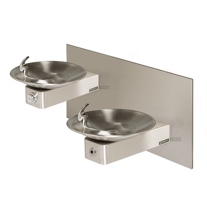 Haws 1011HO Touchless/Push Button Hi-Lo Dual Drinking Fountain with Back Panel, Wall Mounted, ADA Compliant, Stainless Steel with Satin Finish, Non-Refrigerated