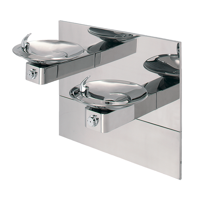 """Haws 1011HPSMS, """"Hi-Lo"""" Barrier-Free, Wall Mounted, Dual High Polished Stainless Steel Drinking Fountains with Access Panel and In-The-Wall Mounting System, (Non-Refrigerated)"""