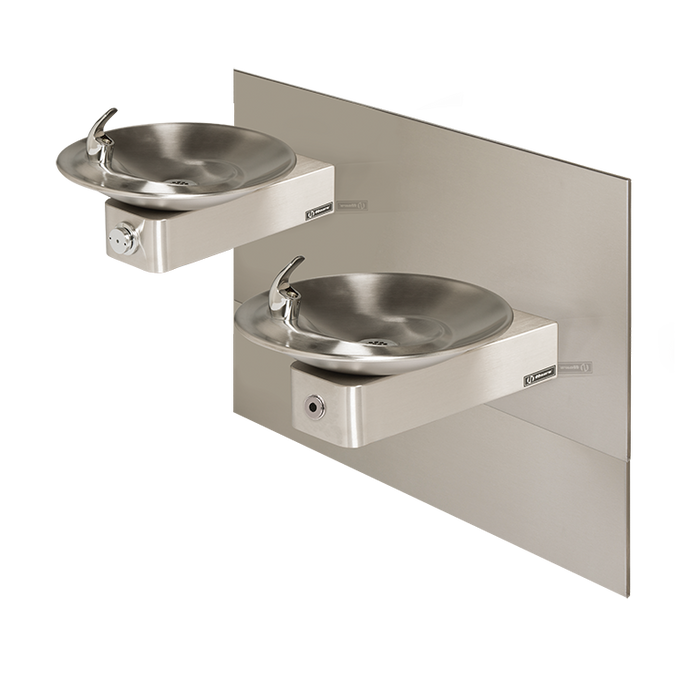 Haws 1011MSHO Touchless/Push Button Hi-Lo Dual Drinking Fountain with Mounting System, Wall Mounted, ADA Compliant, Stainless Steel with Satin Finish, Non-Refrigerated