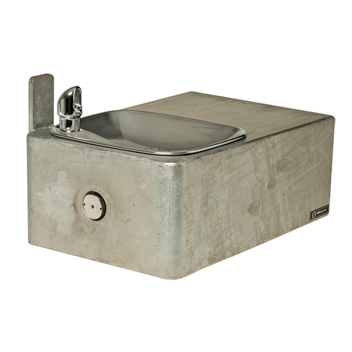 Haws 1025G, Wall Mounted, Barrier-Free, Single Bubbler, 11 Gauge Fabricated Steel Drinking Fountain with Galvanized Finish, (Non-Refrigerated)