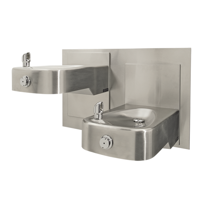 """Haws 1117L, """"Hi-Lo"""" Barrier-Free, Wall Mounted, Dual 14 Gauge Satin Finish Stainless Steel Drinking Fountains with a Back Panel, (Non-Refrigerated)"""