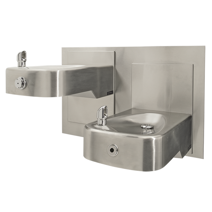 Haws 1117LHO Touchless/Push Button Hi-Lo Dual Adjustable Drinking Fountain with Back Panel, Wall Mounted, ADA, Stainless Steel with Satin Finish, Non-Refrigerated