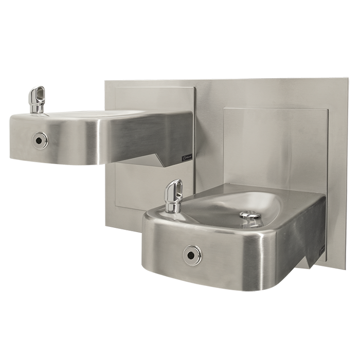 Haws 1117LHO2 Touchless Hi-Lo Dual Adjustable Drinking Fountain with Back Panel, Wall Mounted, ADA, Stainless Steel with Satin Finish, Non-Refrigerated