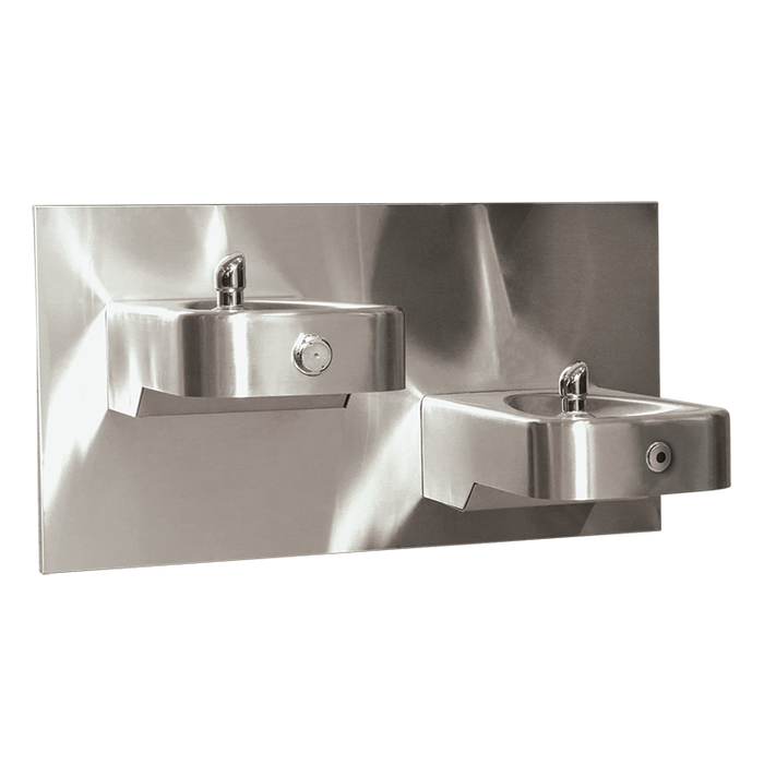 Haws 1117LNHO Touchless/Push Button Hi-Lo Dual Drinking Fountain with Back Panel, Wall Mounted, ADA, Stainless Steel with Satin Finish, Non-Refrigerated