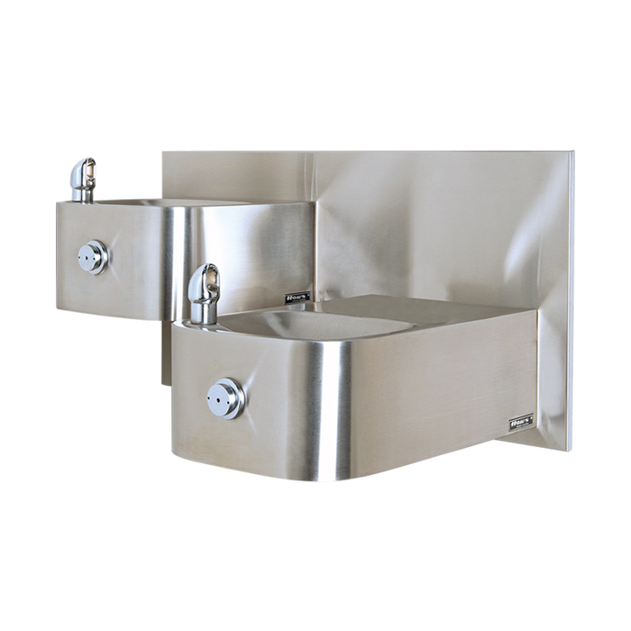 """Haws 1119, """"Hi-Lo"""" Barrier-Free, Wall Mounted, Dual Satin Finish Stainless Steel Drinking Fountains with a Back Panel, (Non-Refrigerated)"""