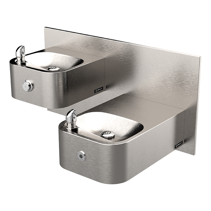 Haws 1119.14HO Touchless/Push Button Hi-Lo Dual Drinking Fountain with Back Panel, 14 Gauge, Wall Mounted, ADA, Stainless Steel with Satin Finish, Non-Refrigerated