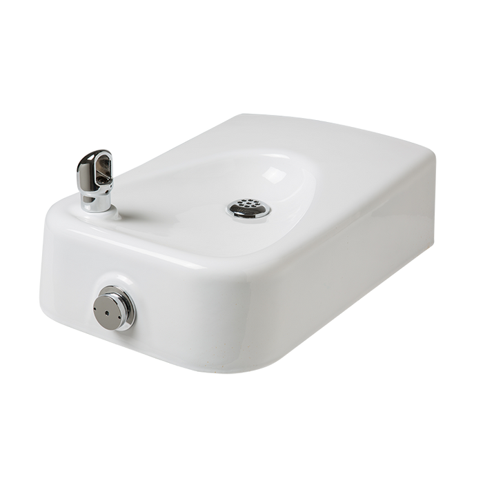 Haws 1311, Barrier-Free, Wall Mounted, White Enameled-Iron Drinking Fountain, (Non-Refrigerated)