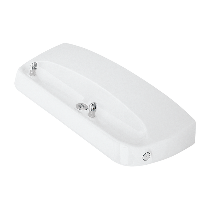 Haws 1441, Wheel-Chair Accessible Wall Mounted, White Cast Aluminum Two Bubbler Drinking Fountain, (Non-Refrigerated)