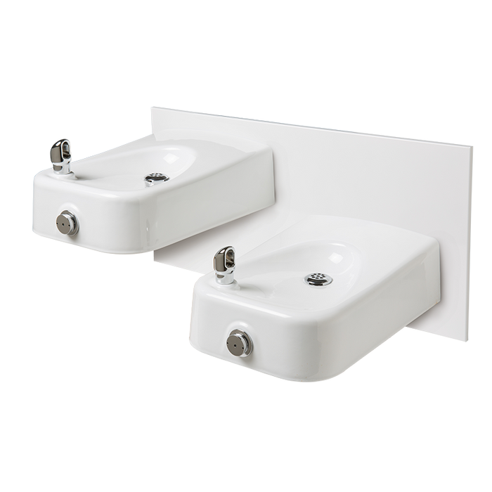 """Haws 1501, """"Hi-Lo"""" Barrier-Free, Wall Mounted, Dual White Enameled Iron Drinking Fountains with a Back Panel, (Non-Refrigerated)"""