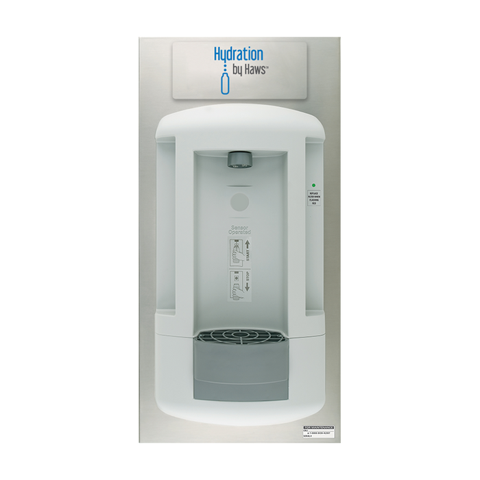 Haws 2000S Hydration By Haws bottle filling station is a recessed wall-mounted, CSA certified, touch-free, hygienic, water dispenser that allows users to enjoy the benefits of fresh, filtered water