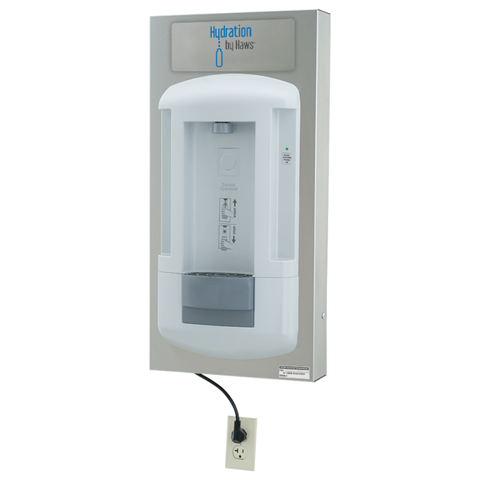 Haws 2000SMS, Hydration By Haws bottle filling station is a surface wall-mounted, CSA certified, touch-free, hygienic, water dispenser that allows users to enjoy the benefits of fresh, filtered water