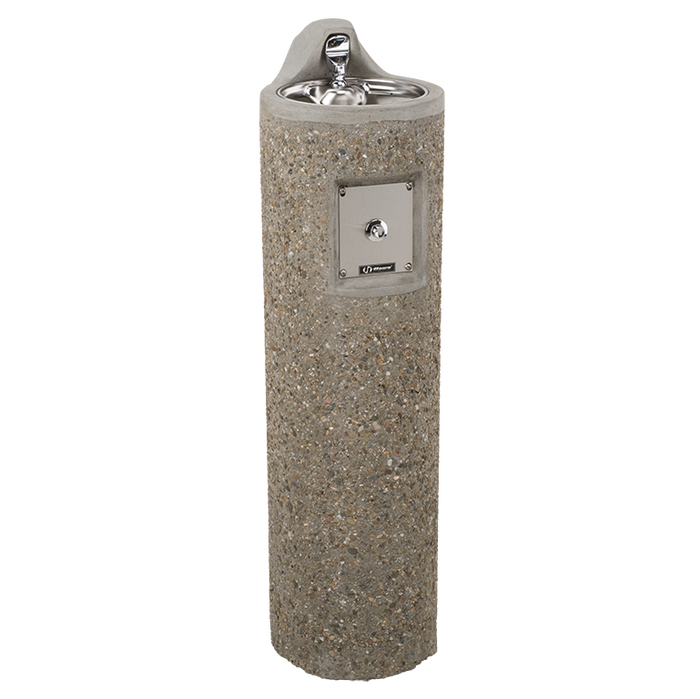 Haws 3060FR, freeze-resistant, wire reinforced round concrete pedestal drinking fountain with exposed aggregate finish, non-refrigerated