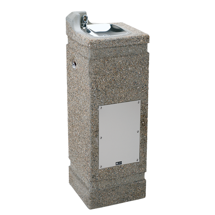 Haws 3121FR, freeze-resistant, vandal-resistant, square wire reinforced concrete pedestal drinking fountain with exposed aggregate finish, non-refrigerated