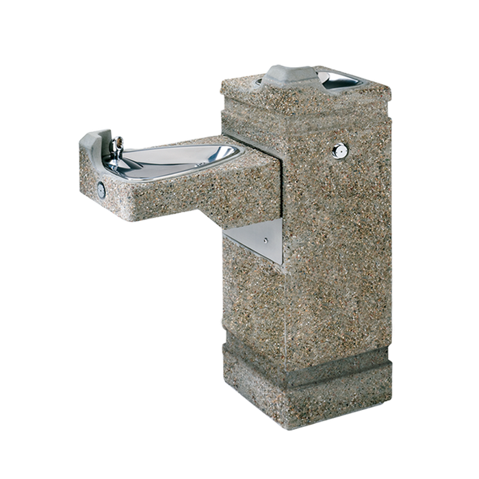 """Haws 3150, """"Hi-Lo"""" barrier-free, concrete pedestal drinking fountain with exposed aggregate finish and 100% lead-free waterways, non-refrigerated"""