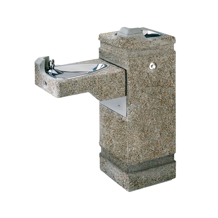 """Haws 3150FR, Freeze-Resistant, """"Hi-Lo"""" Barrier-Free, Concrete Pedestal Drinking Fountain, (Non-Refrigerated)"""