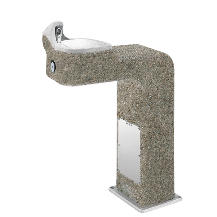 Haws 3177, barrier-free, wire reinforced concrete pedestal drinking fountain with exposed aggregate finish and 100% lead-free waterways, non-refrigerated