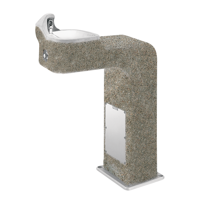 Haws 3177FR, freeze-resistant, barrier-free, wire reinforced concrete pedestal drinking fountain with exposed aggregate finish, non-refrigerated