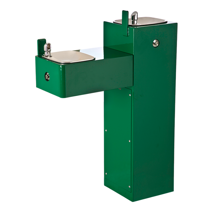 """Haws 3300FR, """"Hi-Lo"""" Freeze-Resistant, Barrier-Free, Two Bubbler 11 Gauge Galvanized Steel Pedestal Drinking Fountain, (Non-Refrigerated)"""
