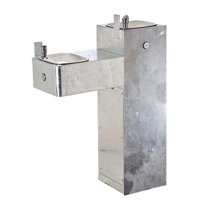 """Haws 3300G, """"Hi-Lo"""" Barrier-Free, Two Bubbler 11 Gauge Steel Pedestal Drinking Fountain with Galvanized Finish, (Non-Refrigerated)"""