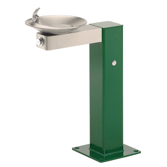 Haws 3377, Barrier-Free, Galvanized Steel Pedestal Drinking Fountain, Stainless Steel Bowl and Bracket, (Non-Refrigerated)