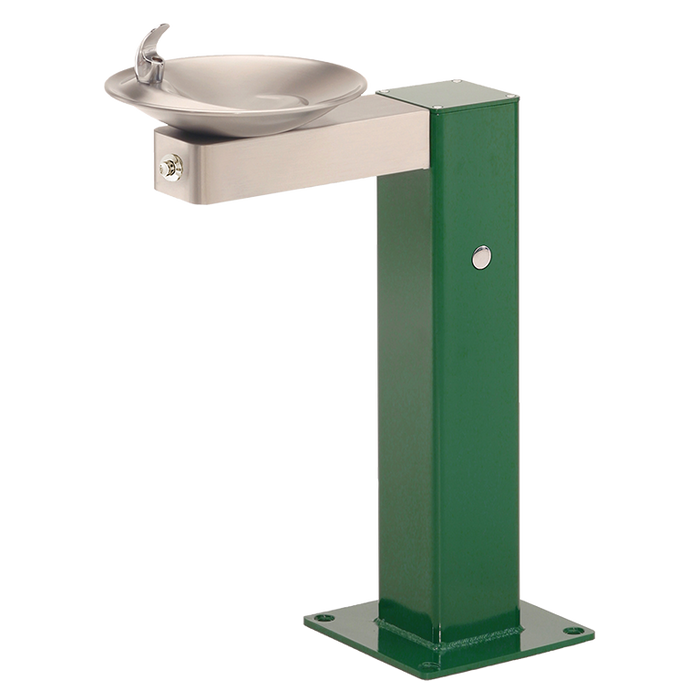 Haws 3377FR, Freeze-Resistant, Barrier-Free, Galvanized Steel Pedestal Drinking Fountain, Stainless Steel Bowl and Bracket, (Non-Refrigerated)