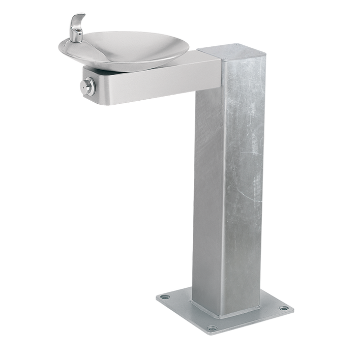 Haws 3377G, Barrier-Free, Galvanized Steel Pedestal Drinking Fountain, Stainless Steel Bowl and Bracket, (Non-Refrigerated)