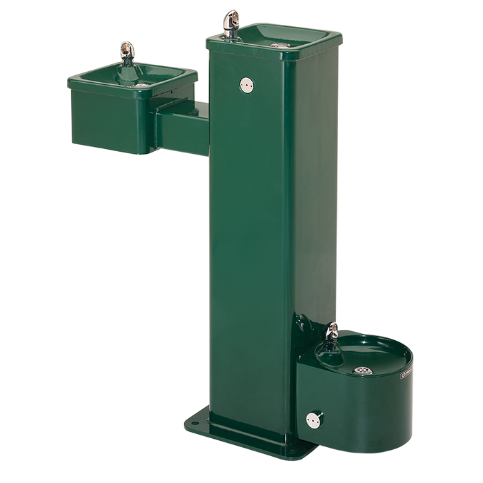 """Haws 3500D, """"Hi-Lo"""" Barrier-Free, Superior-Duty Vandal-Resistant Stainless Steel Pedestal Drinking Fountain with Pet Fountain, (Non-Refrigerated)"""