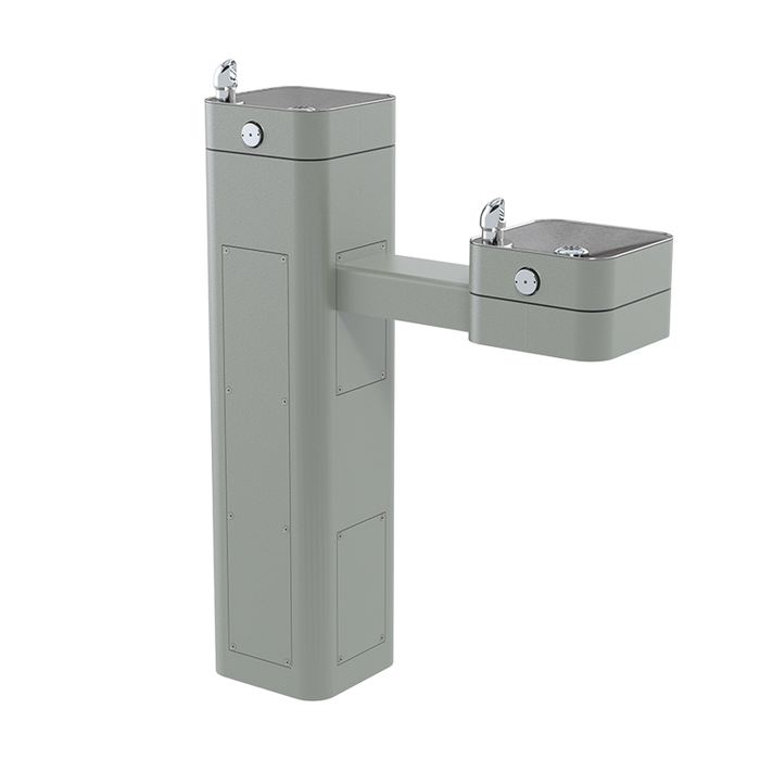 Haws 3602 heavy-duty outdoor, barrier-free pedestal dual drinking fountain with silver powder-coated finish, non-refrigerated