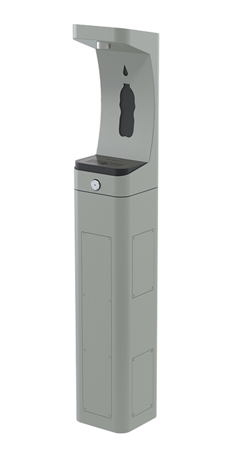 Haws 3610 heavy-duty modular outdoor, barrier-free pedestal bottle filler with silver powder-coated finish, non-refrigerated