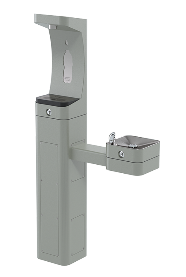 Haws 3611FR freeze resistant, heavy-duty modular outdoor, barrier-free pedestal bottle filler and drinking fountain with silver powder-coated finish, non-refrigerated