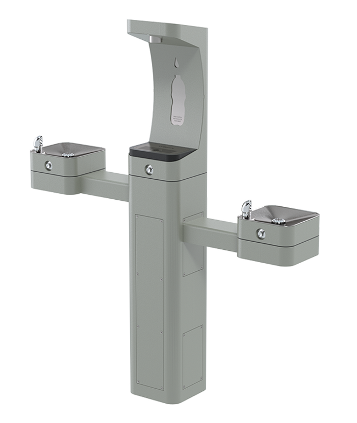 Haws 3612FR freeze resistant, heavy-duty modular outdoor, barrier-free pedestal bottle filler and drinking fountain with silver powder-coated finish, non-refrigerated