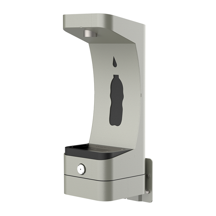 Haws 3690 Config WM, wall mounted, heavy-duty outdoor, ADA accessible bottle filler, silver finish, non-refrigerated