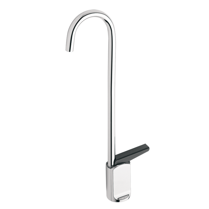 Haws 5551, Push Lever Operated, Self-Closing, Chrome-Plated Brass, Deck mounted, Gooseneck Cold Water Glassfiller Faucet
