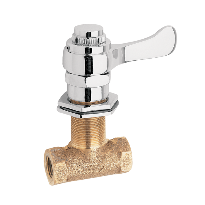 Haws 5851LF, Panel Mounted Bubbler Valve, Chrome-Plated, Vandal-Resistant Lever Handle and Rough Brass Body
