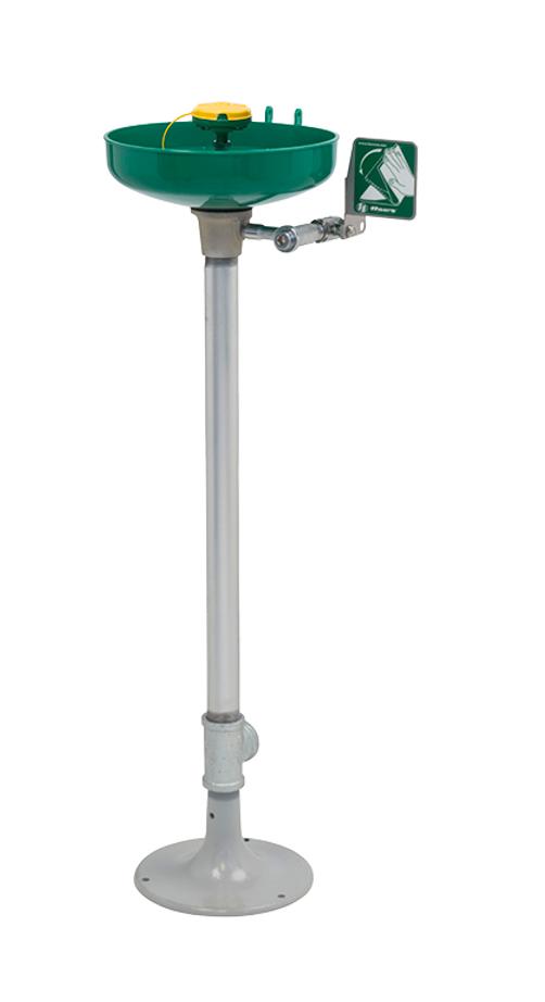 Haws 7261-7271, Pedestal Mounted, Green ABS Plastic Bowl Eye/Face Wash with AXION MSR Eye/Face Wash Head, Emergency Equipment