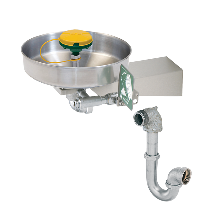 """Haws 7360BTWC, Barrier-Free, Wall Mounted, 11"""" Stainless Steel Bowl, Eye/Face Wash with AXION MSR Eye/Face Wash Head with Tailpiece and Trap, Emergency Equipment"""