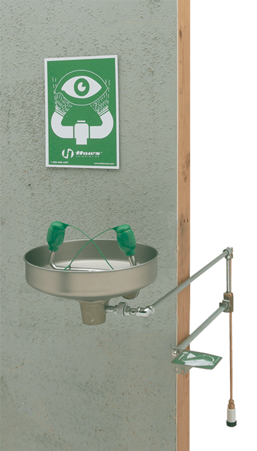 Haws 7433FP, Wall Mounted, Freeze-Resistant, Stainless Steel Bowl Eyewash with Soft-Flo Heads, Emergency Equipment