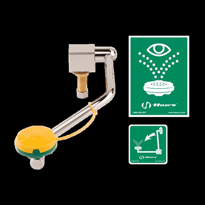 Haws 7610, Barrier-Free, Single Action, Swing-Down Eye/Face Wash with AXION MSR Eye/Face Wash Head, Emergency Equipment